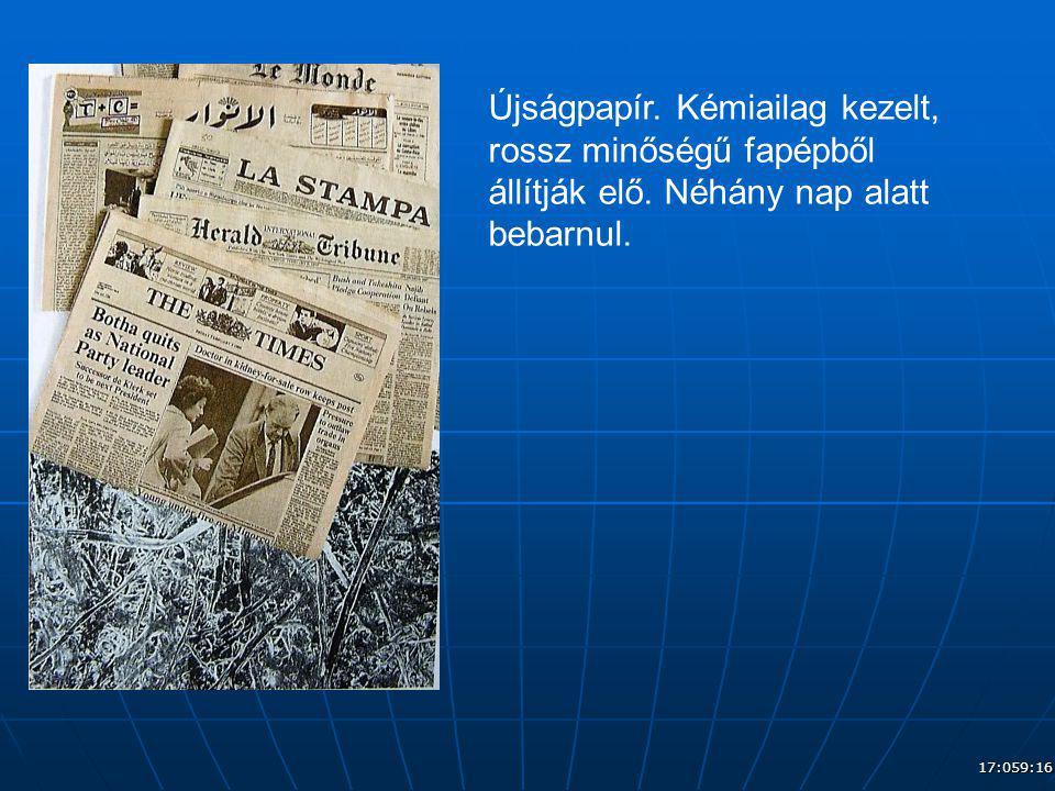 Újságpapír. Kémiailag kezelt, rossz minőségű fapépből állítják elő