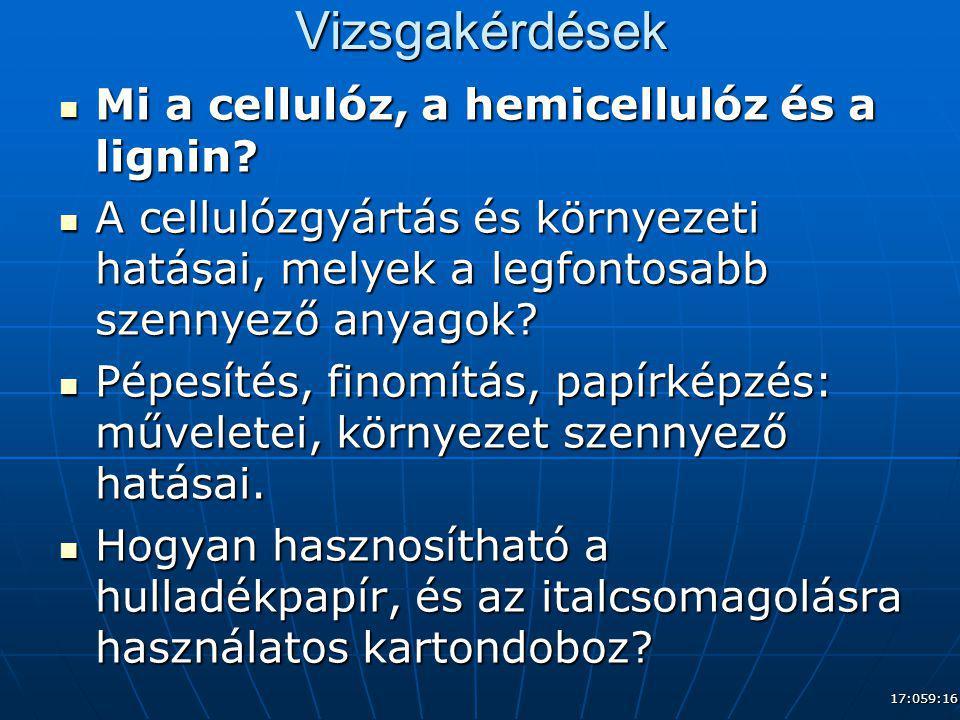 Vizsgakérdések Mi a cellulóz, a hemicellulóz és a lignin