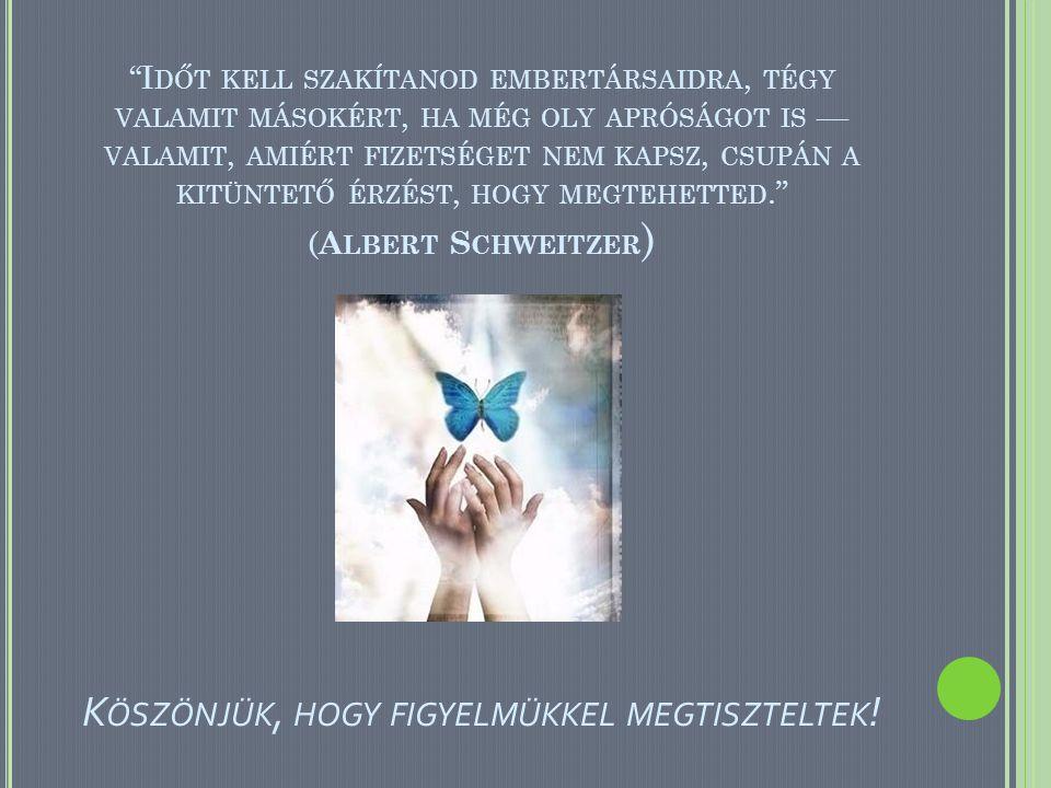 Időt kell szakítanod embertársaidra, tégy valamit másokért, ha még oly apróságot is — valamit, amiért fizetséget nem kapsz, csupán a kitüntető érzést, hogy megtehetted. (Albert Schweitzer) Köszönjük, hogy figyelmükkel megtiszteltek!