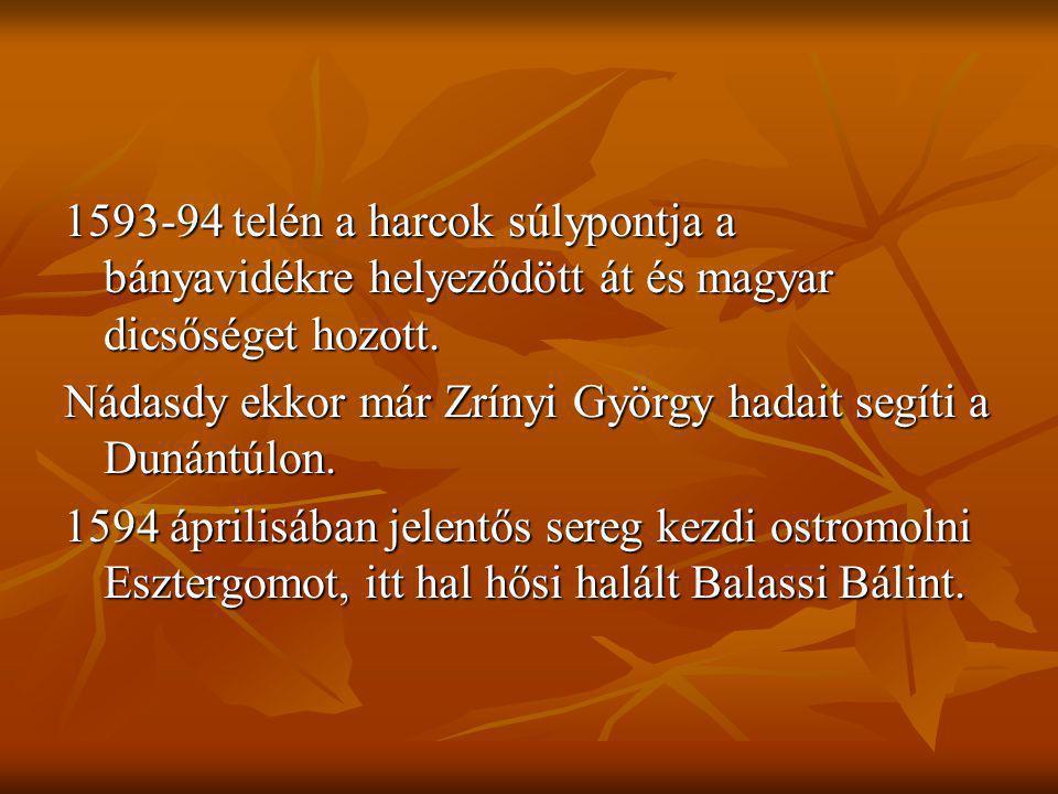 1593-94 telén a harcok súlypontja a bányavidékre helyeződött át és magyar dicsőséget hozott.