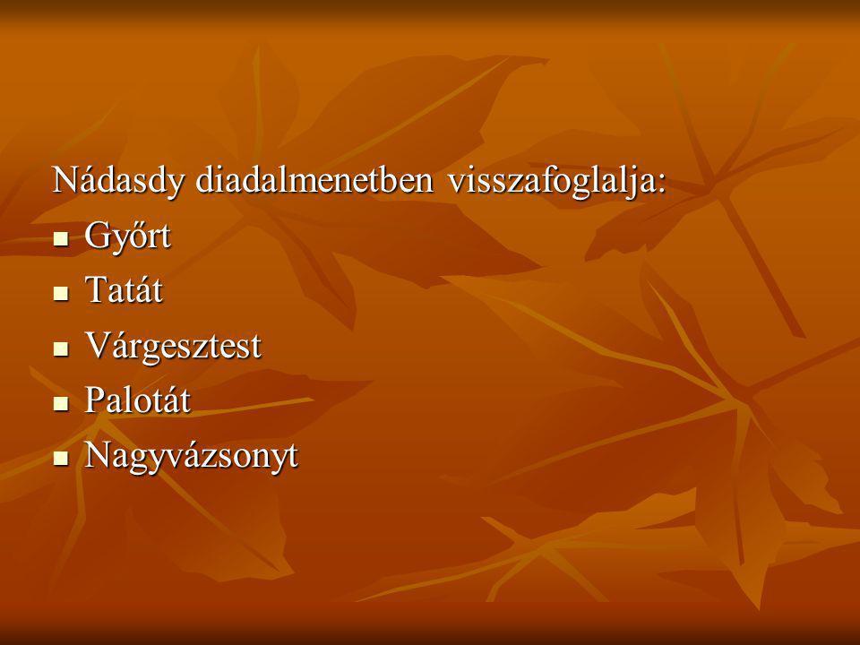 Nádasdy diadalmenetben visszafoglalja: