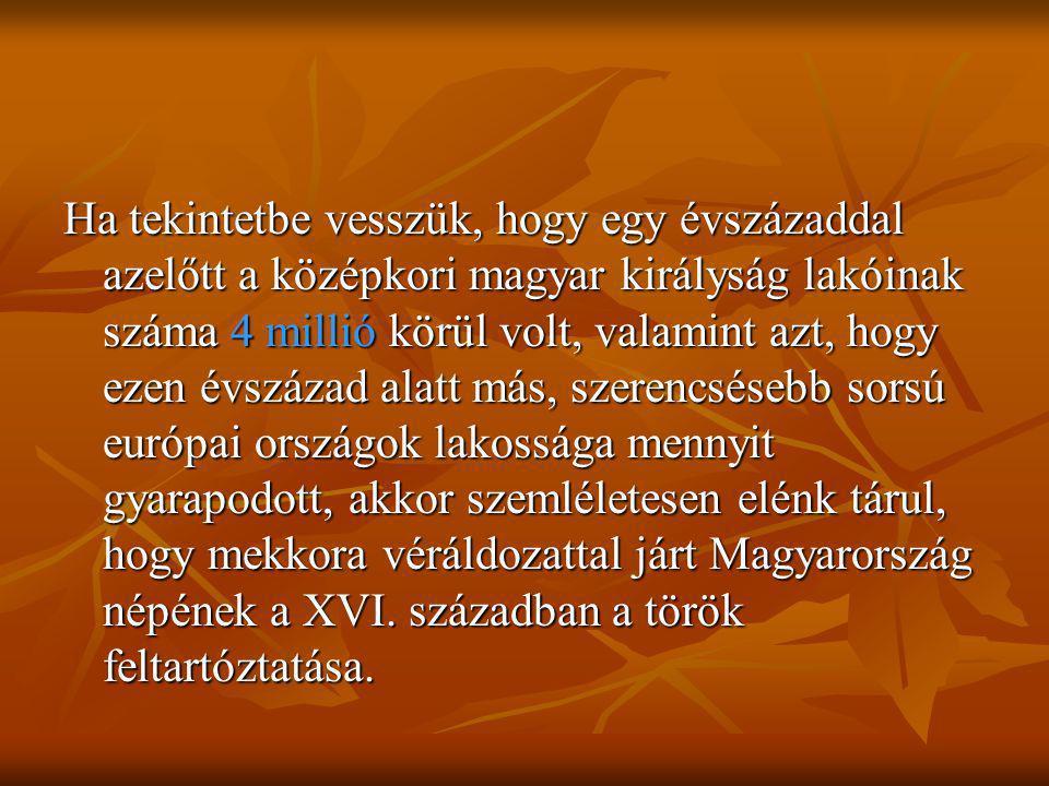 Ha tekintetbe vesszük, hogy egy évszázaddal azelőtt a középkori magyar királyság lakóinak száma 4 millió körül volt, valamint azt, hogy ezen évszázad alatt más, szerencsésebb sorsú európai országok lakossága mennyit gyarapodott, akkor szemléletesen elénk tárul, hogy mekkora véráldozattal járt Magyarország népének a XVI.