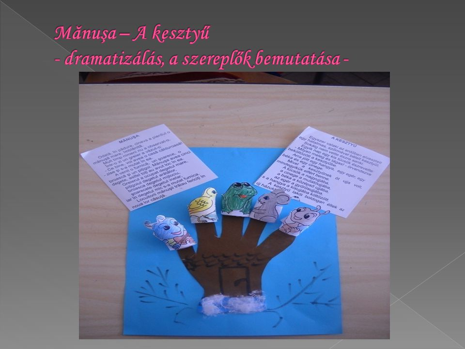 Mănuşa – A kesztyű - dramatizálás, a szereplők bemutatása -