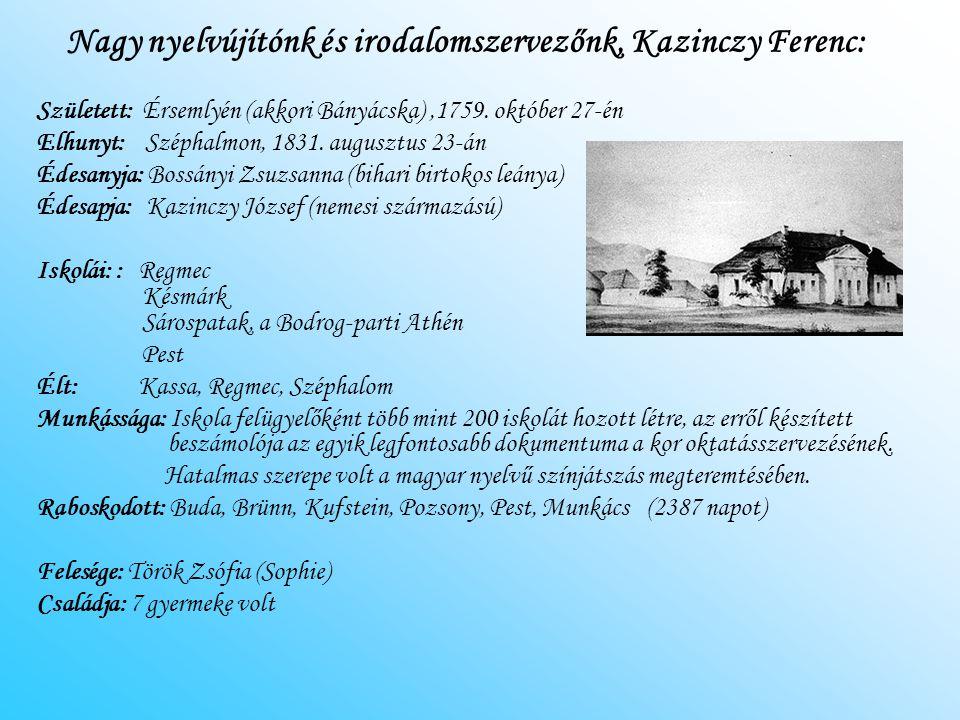 Nagy nyelvújítónk és irodalomszervezőnk, Kazinczy Ferenc: