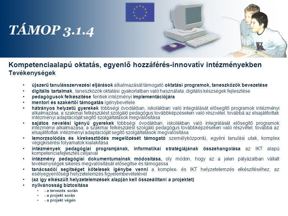 TÁMOP 3.1.4 Kompetenciaalapú oktatás, egyenlő hozzáférés-innovatív intézményekben. Tevékenységek.