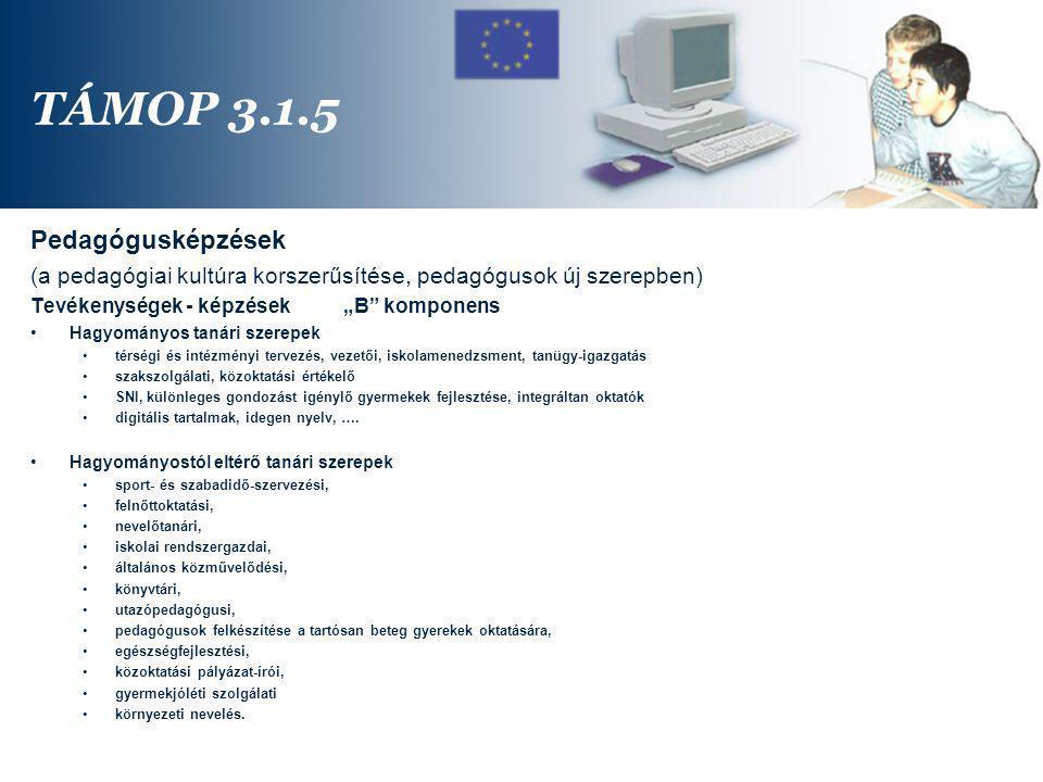 TÁMOP 3.1.5 Pedagógusképzések