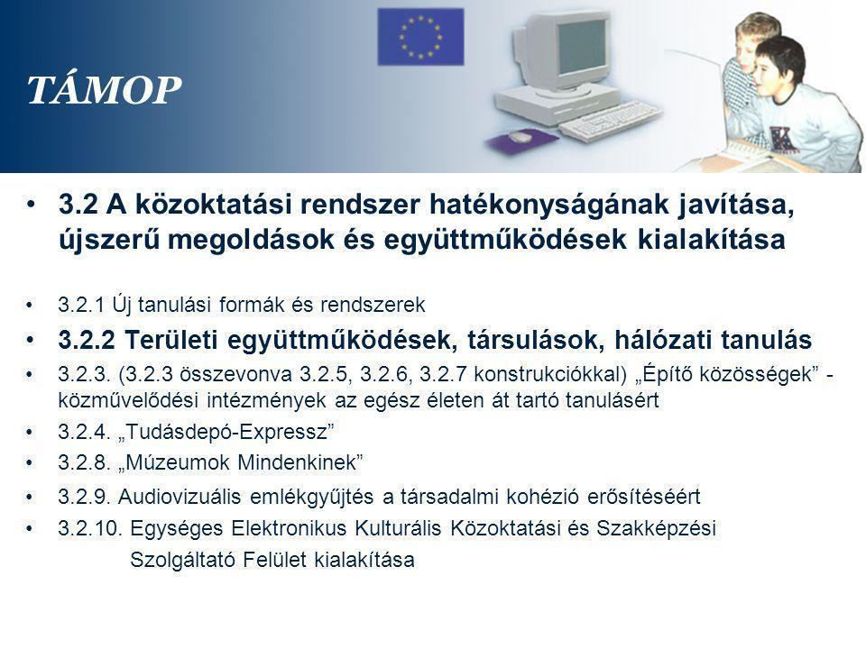 TÁMOP 3.2 A közoktatási rendszer hatékonyságának javítása, újszerű megoldások és együttműködések kialakítása.