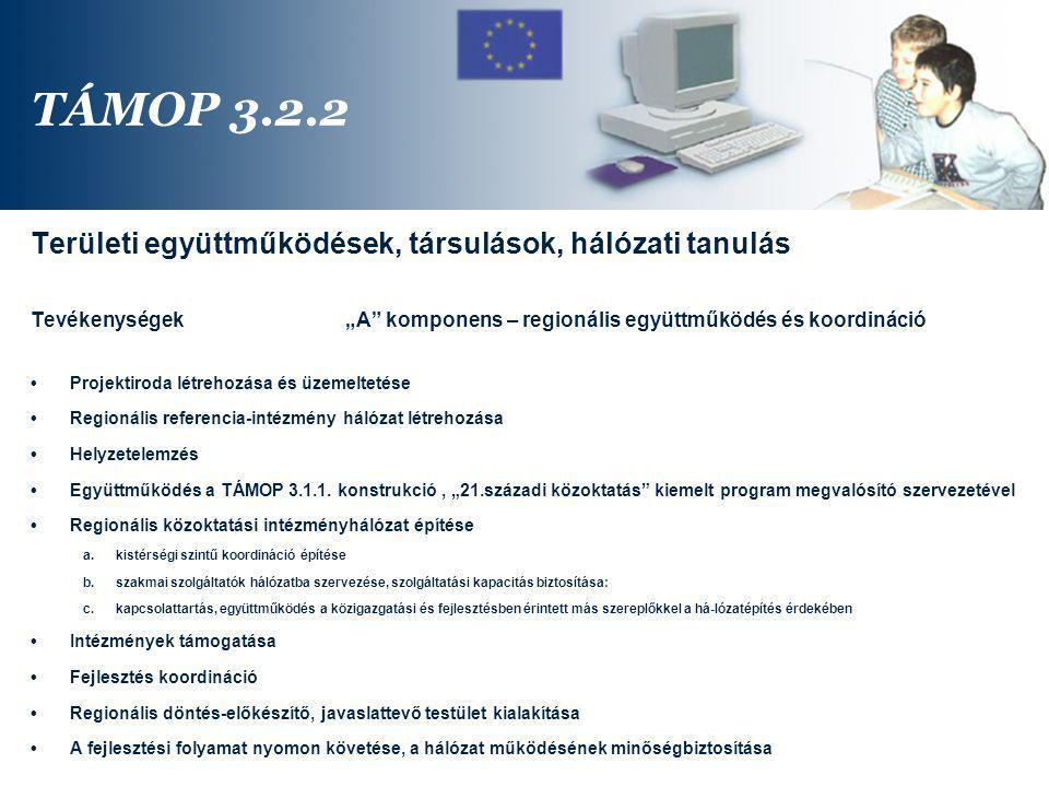 TÁMOP 3.2.2 Területi együttműködések, társulások, hálózati tanulás