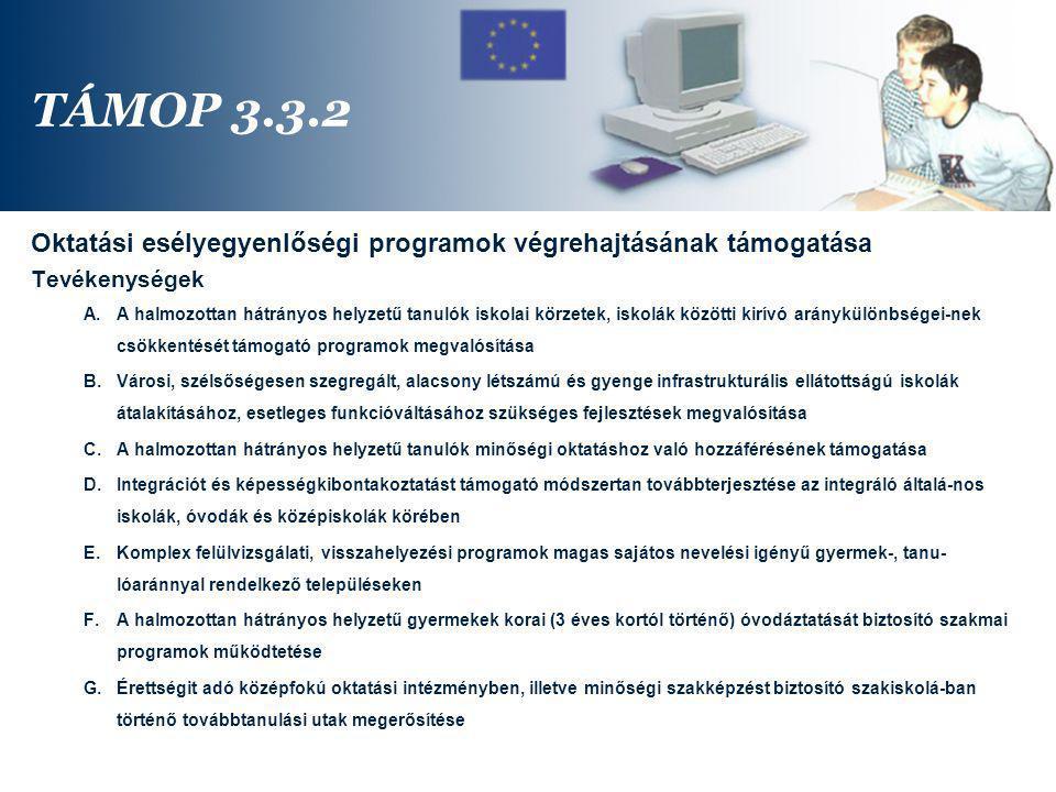 TÁMOP 3.3.2 Oktatási esélyegyenlőségi programok végrehajtásának támogatása. Tevékenységek.