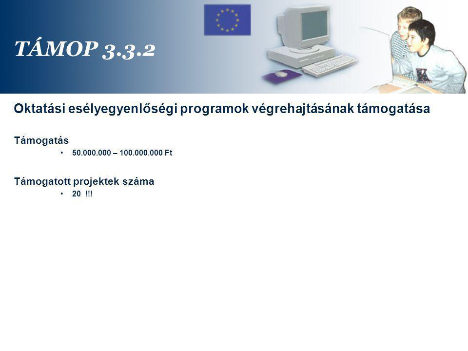 TÁMOP 3.3.2 Oktatási esélyegyenlőségi programok végrehajtásának támogatása. Támogatás. 50.000.000 – 100.000.000 Ft.