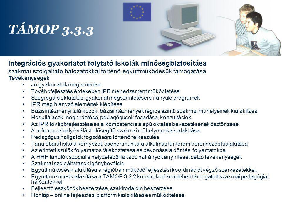 TÁMOP 3.3.3 Integrációs gyakorlatot folytató iskolák minőségbiztosítása. szakmai szolgáltató hálózatokkal történő együttműködésük támogatása.