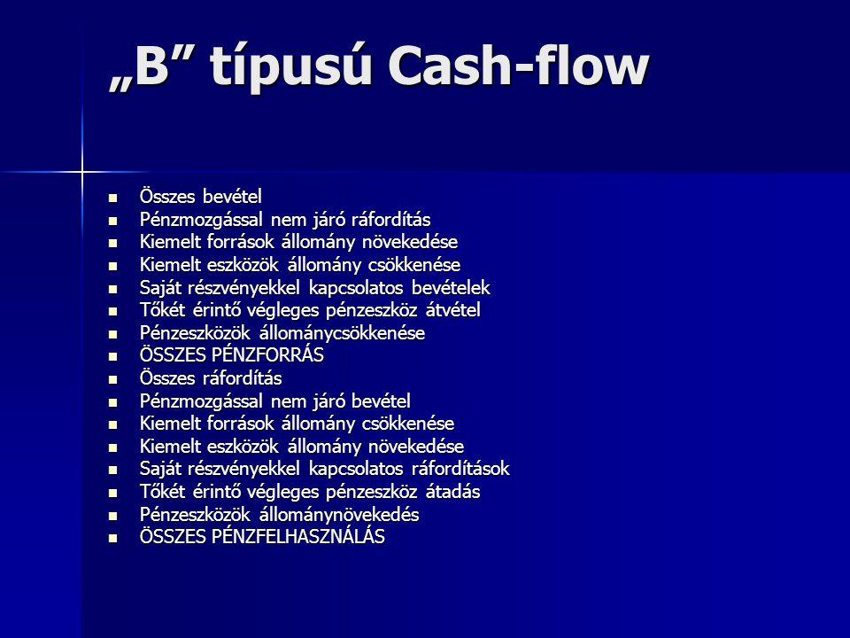 """""""B típusú Cash-flow Összes bevétel Pénzmozgással nem járó ráfordítás"""