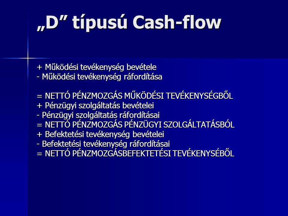 """""""D típusú Cash-flow + Működési tevékenység bevétele"""