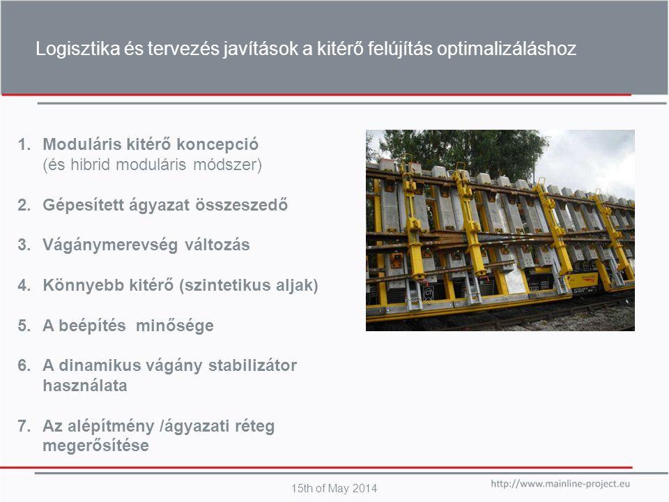 Logisztika és tervezés javítások a kitérő felújítás optimalizáláshoz