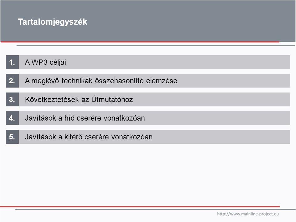 Tartalomjegyszék 1. A WP3 céljai 2.