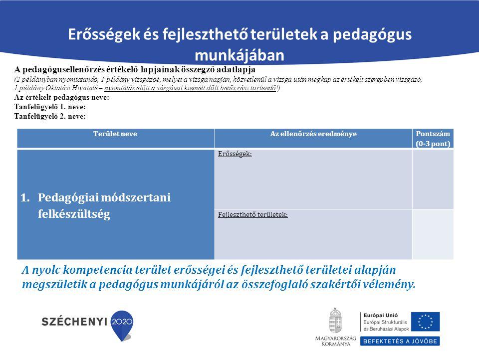 Erősségek és fejleszthető területek a pedagógus munkájában