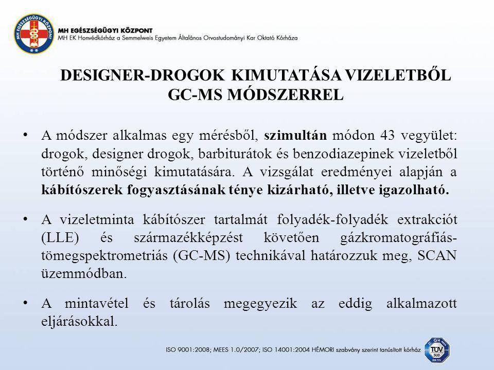 DESIGNER-DROGOK KIMUTATÁSA VIZELETBŐL GC-MS MÓDSZERREL
