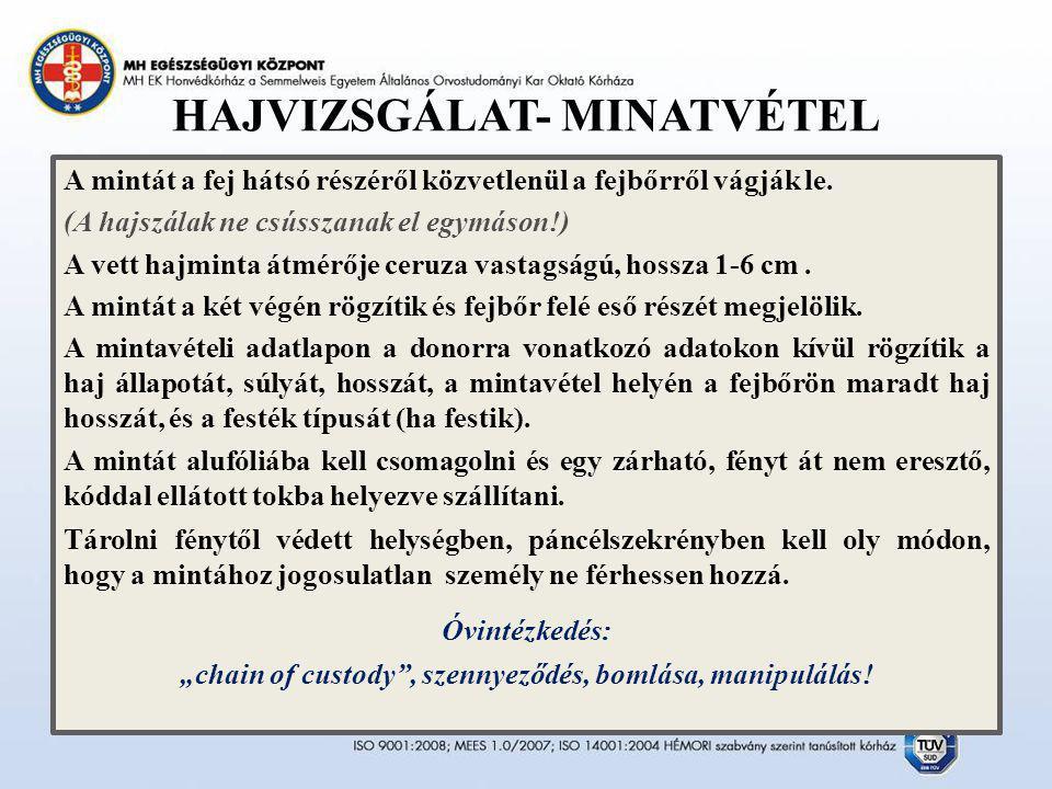 HAJVIZSGÁLAT- MINATVÉTEL