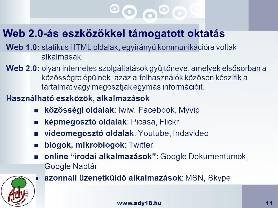 Web 2.0-ás eszközökkel támogatott oktatás