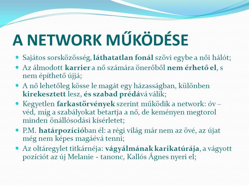 A NETWORK MŰKÖDÉSE Sajátos sorsközösség, láthatatlan fonál szövi egybe a női hálót;