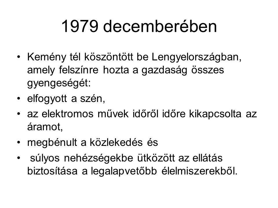 1979 decemberében Kemény tél köszöntött be Lengyelországban, amely felszínre hozta a gazdaság összes gyengeségét: