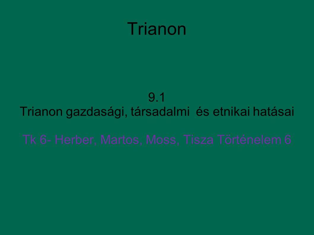 Trianon 9.1 Trianon gazdasági, társadalmi és etnikai hatásai