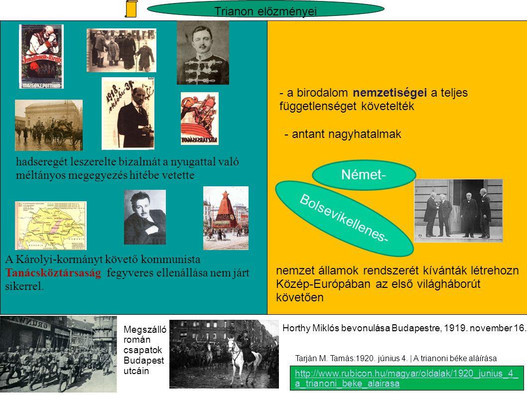 Német- Bolsevikellenes- Trianon előzményei