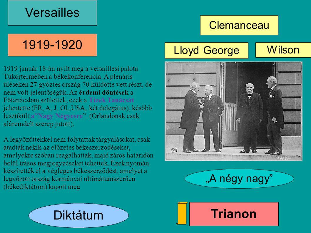 Versailles 1919-1920 Trianon Diktátum Clemanceau Lloyd George Wilson