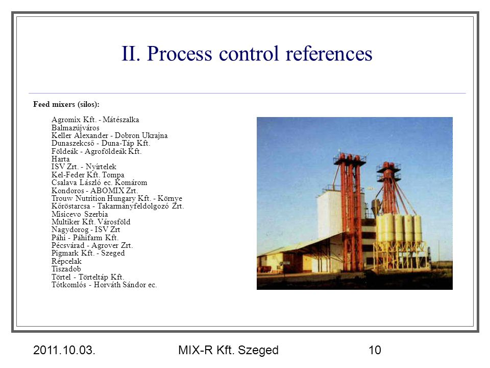 II. Process control references