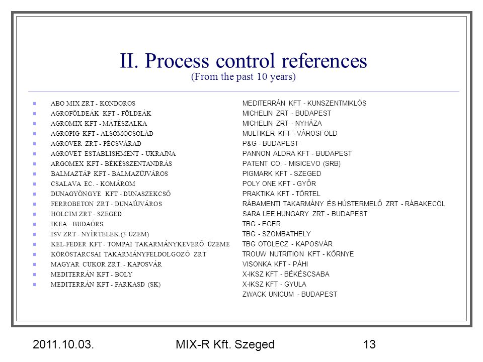 II. Process control references (From the past 10 years)