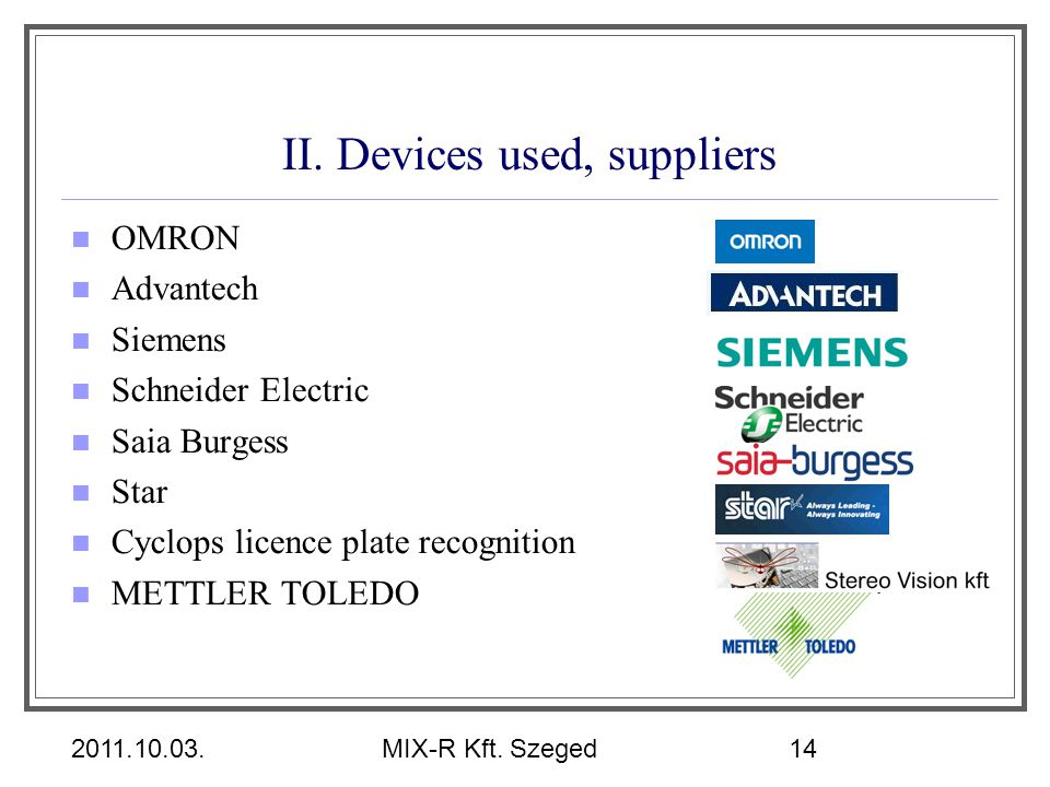 II. Devices used, suppliers