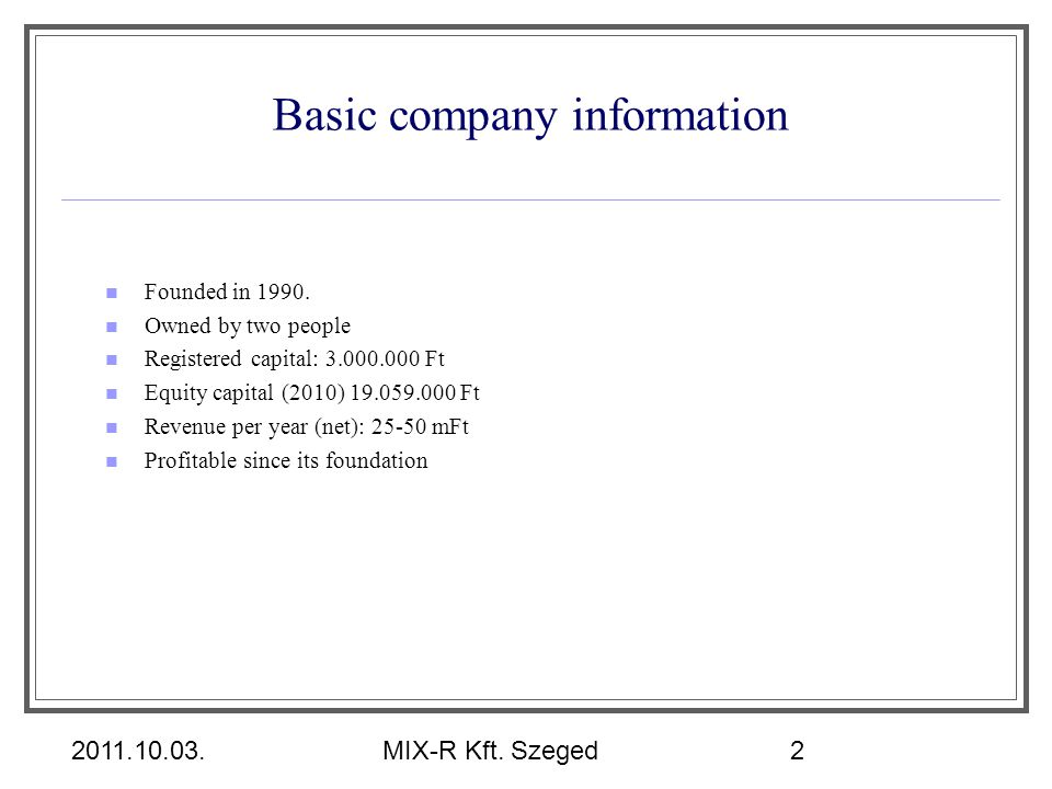 Basic company information