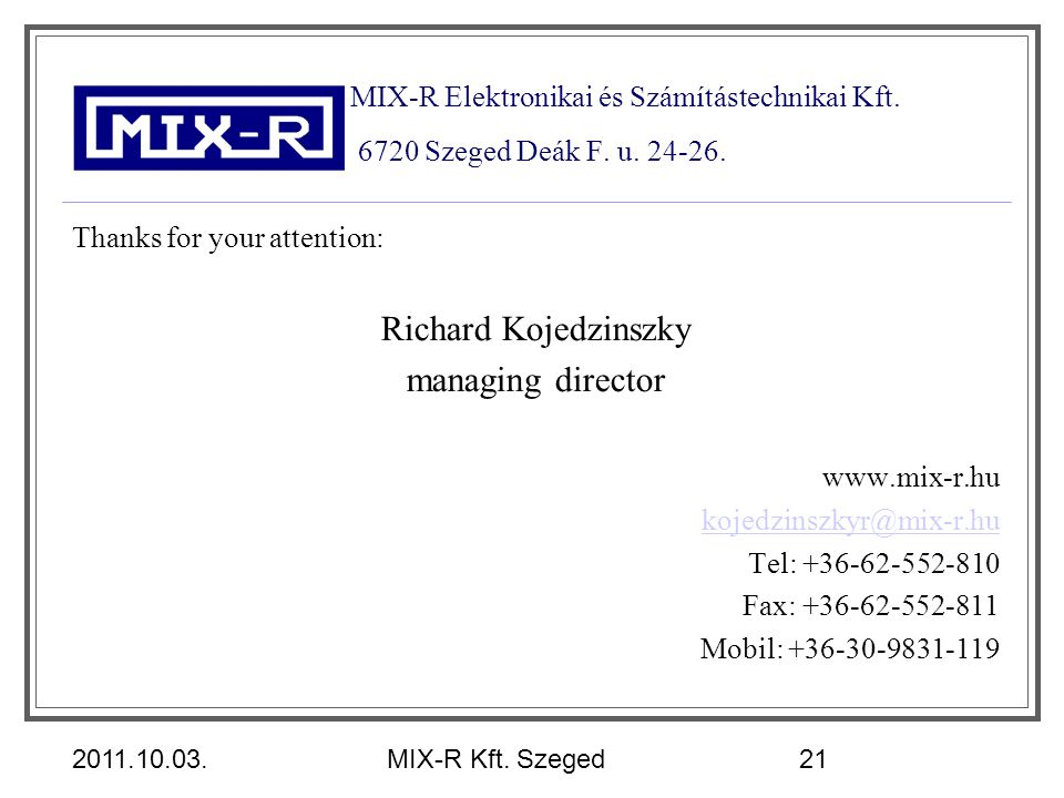 Richard Kojedzinszky managing director
