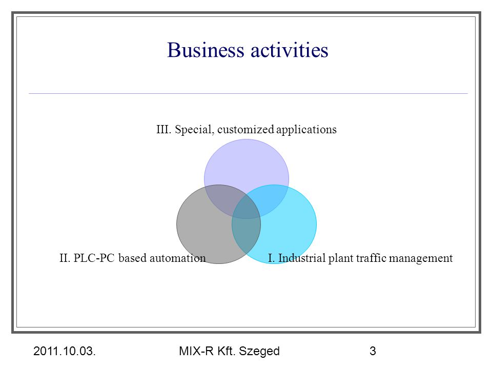 Business activities III. Special, customized applications