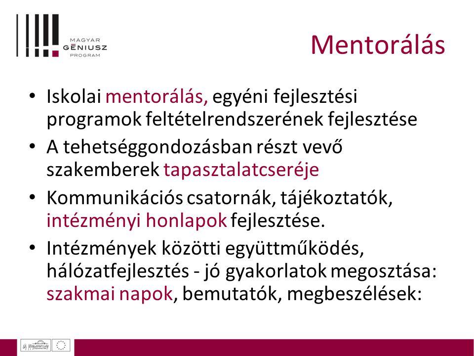 Mentorálás Iskolai mentorálás, egyéni fejlesztési programok feltételrendszerének fejlesztése.