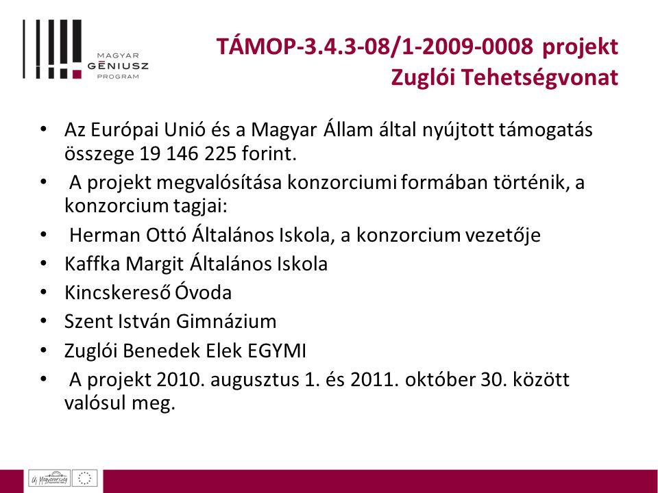 TÁMOP-3.4.3-08/1-2009-0008 projekt Zuglói Tehetségvonat