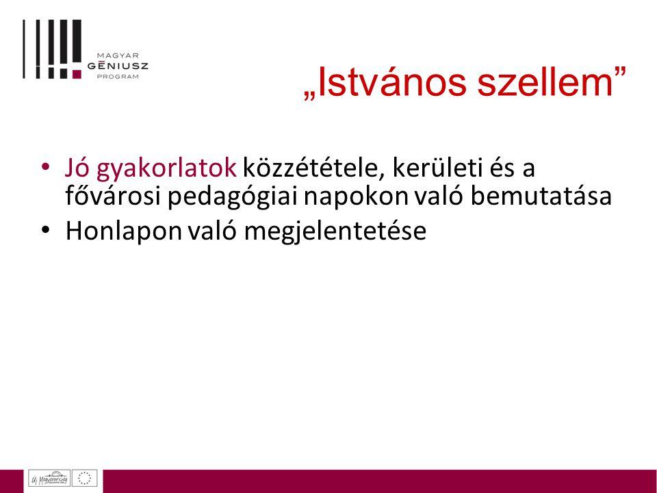 """""""Istvános szellem Jó gyakorlatok közzététele, kerületi és a fővárosi pedagógiai napokon való bemutatása."""