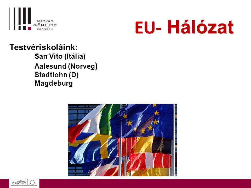 EU- Hálózat Testvériskoláink: ing San Vito (Itália) Aalesund (Norveg)