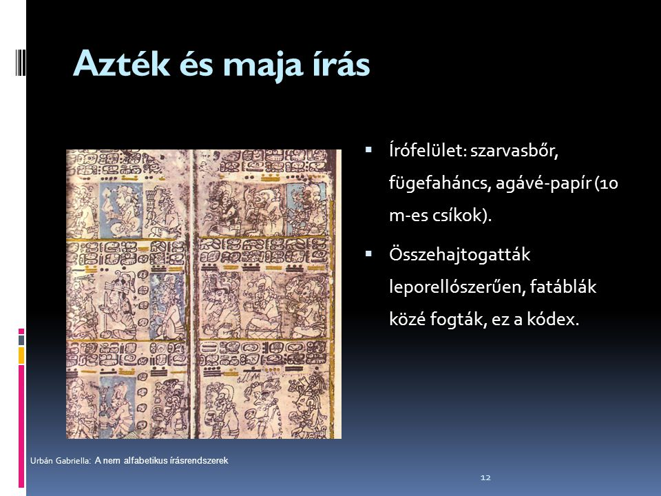 Azték és maja írás Írófelület: szarvasbőr, fügefaháncs, agávé-papír (10 m-es csíkok).