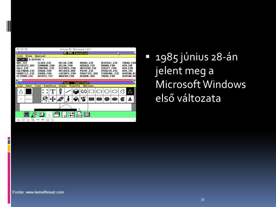 1985 június 28-án jelent meg a Microsoft Windows első változata