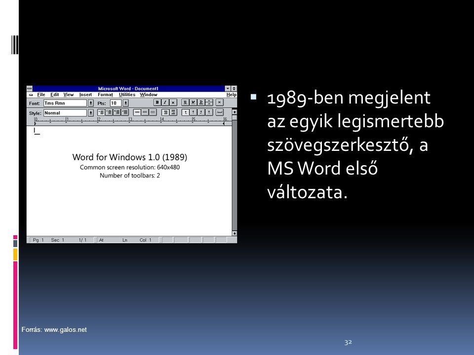 1989-ben megjelent az egyik legismertebb szövegszerkesztő, a MS Word első változata.