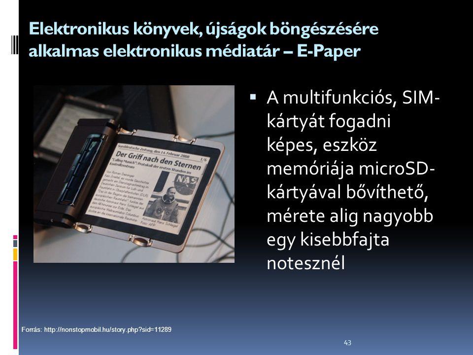 Elektronikus könyvek, újságok böngészésére alkalmas elektronikus médiatár – E-Paper