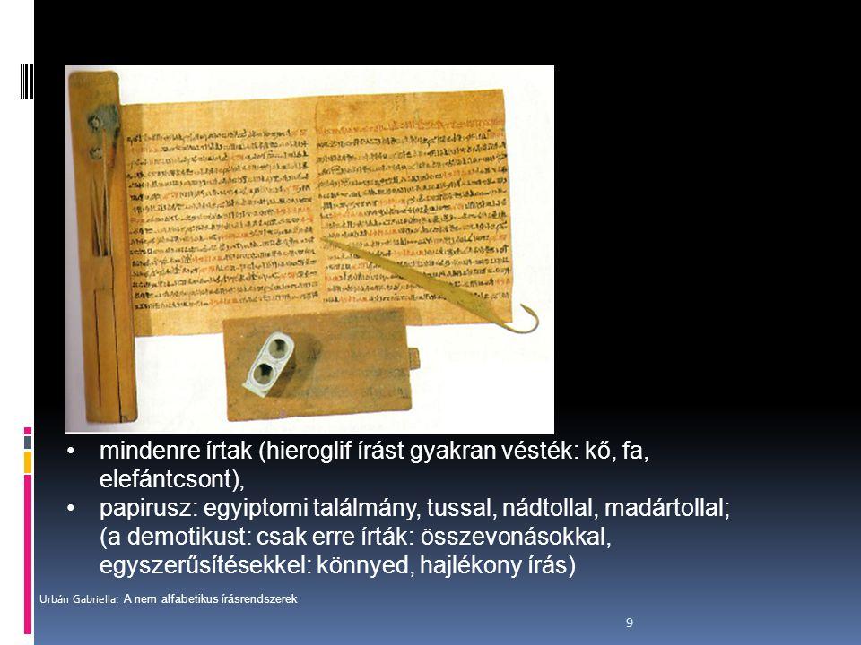 mindenre írtak (hieroglif írást gyakran vésték: kő, fa, elefántcsont),
