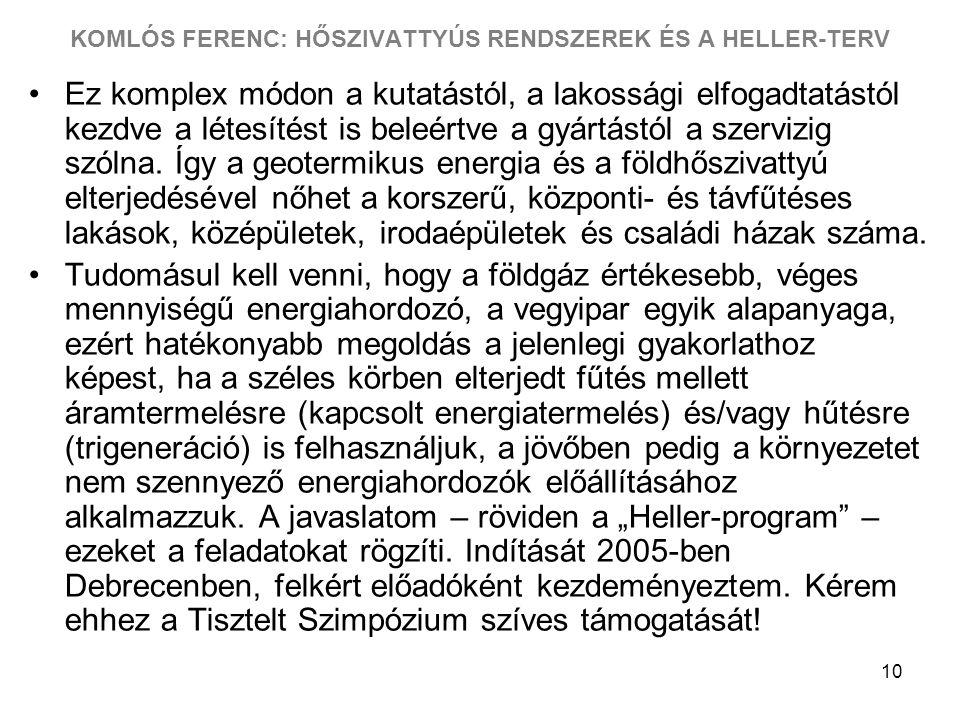KOMLÓS FERENC: HŐSZIVATTYÚS RENDSZEREK ÉS A HELLER-TERV