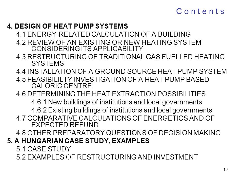 C o n t e n t s 4. DESIGN OF HEAT PUMP SYSTEMS