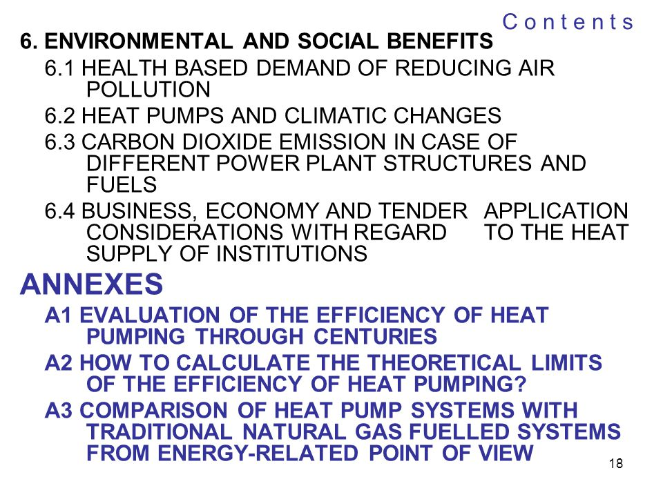ANNEXES C o n t e n t s 6. ENVIRONMENTAL AND SOCIAL BENEFITS