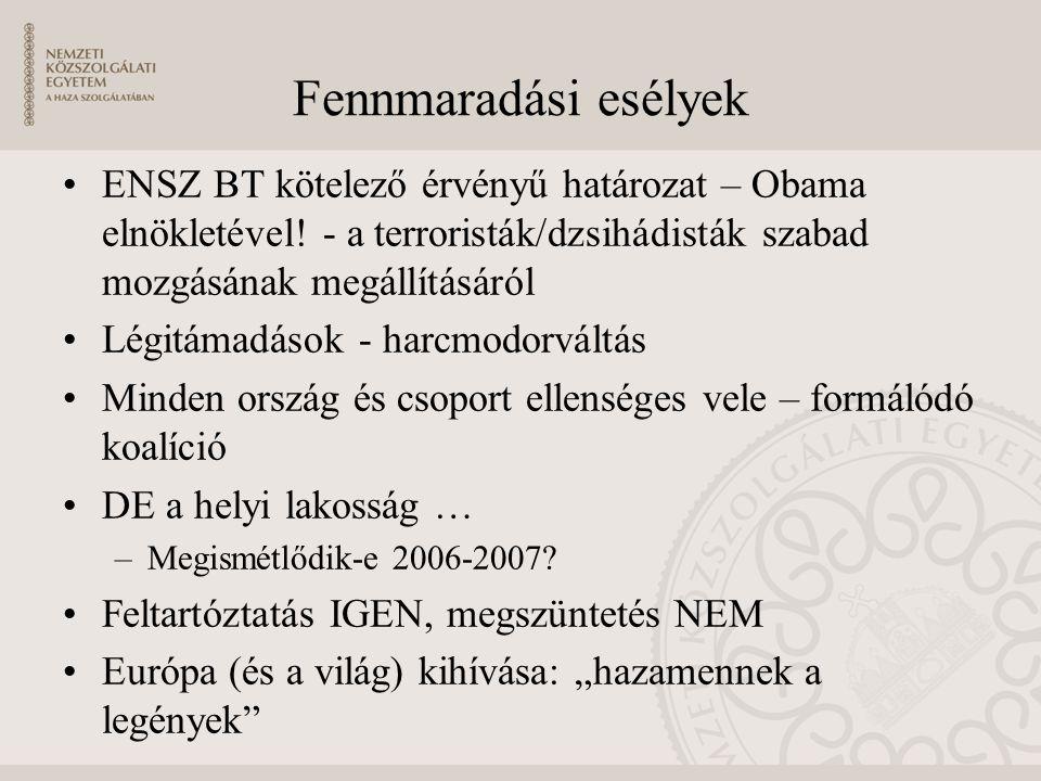 Fennmaradási esélyek ENSZ BT kötelező érvényű határozat – Obama elnökletével! - a terroristák/dzsihádisták szabad mozgásának megállításáról.