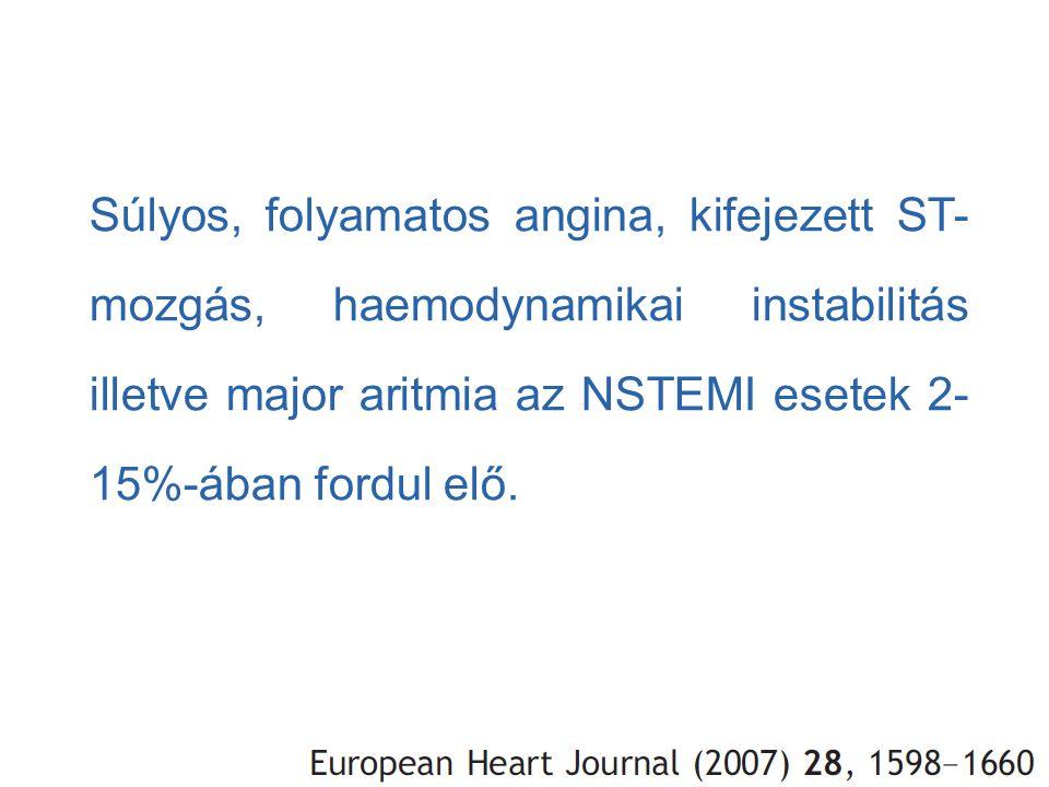 Súlyos, folyamatos angina, kifejezett ST-mozgás, haemodynamikai instabilitás illetve major aritmia az NSTEMI esetek 2-15%-ában fordul elő.