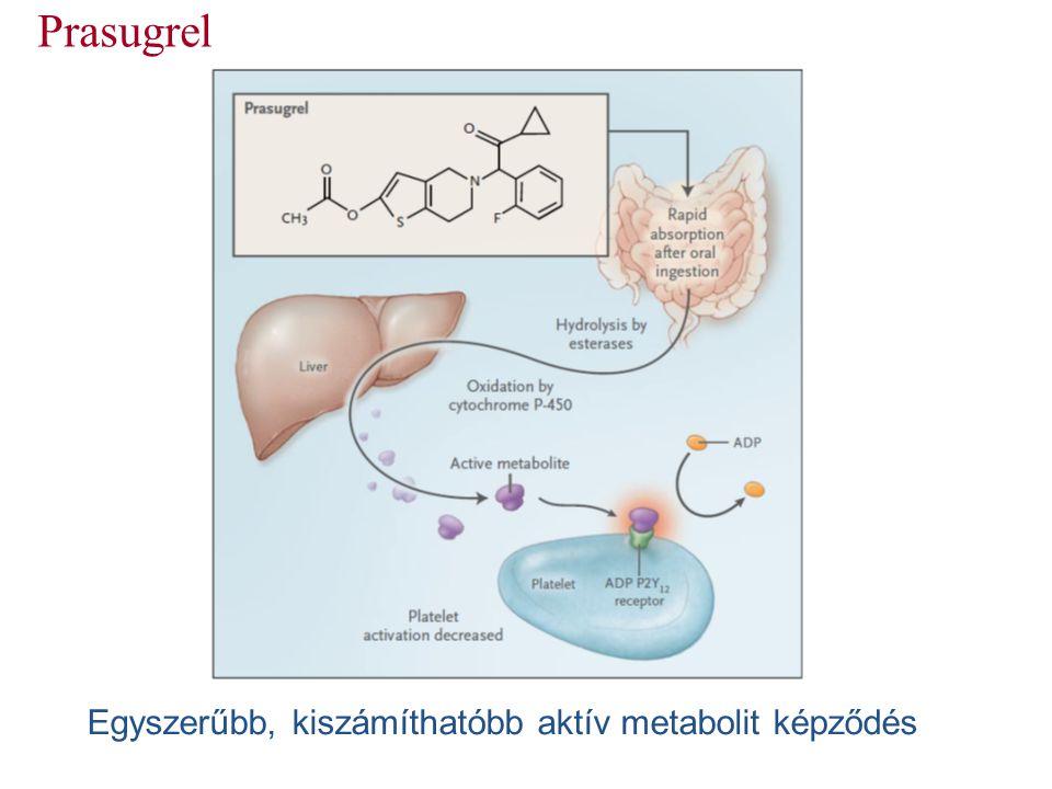 Prasugrel Egyszerűbb, kiszámíthatóbb aktív metabolit képződés