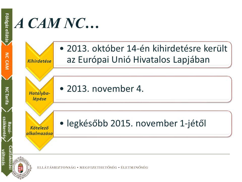 A CAM NC… Földgáz ellátás NC CAM NC Tarifa Rezsi-csökkentés
